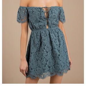 teal off the shoulder lace dress